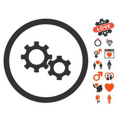 gears icon with love bonus vector image