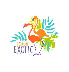 hand drawn exotic logo template with couple of vector image