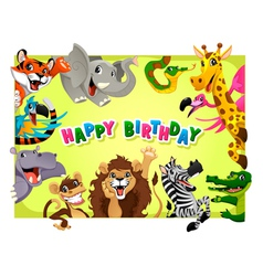 Happy Birthday card with Jungle animals vector image vector image