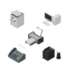Isometric business set of printing machine desk vector