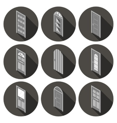 isometric set of flat icons doors vector image vector image