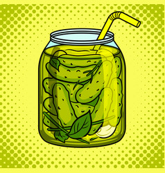 Jar with pickled cucumbers pop art vector