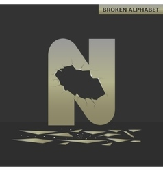 Letter n broken mirror vector