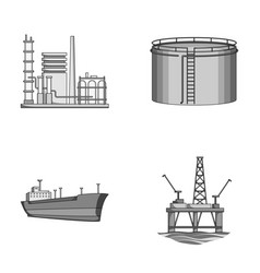 Oil refinery tank tanker tower oil set vector