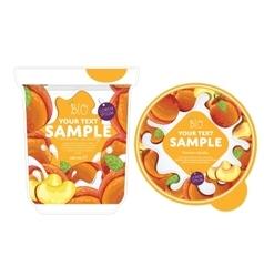 Peach yogurt packaging design template vector