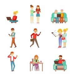 People Being Obsessed With Gadgets Set Of vector image vector image
