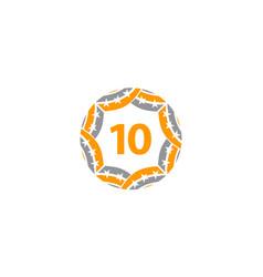 Ribbon circle star number 10 vector
