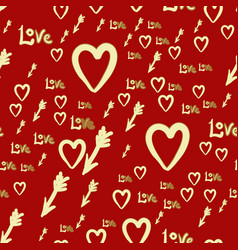 romantic hearts and arrows seamless pattern vector image vector image