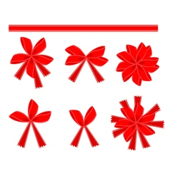 Set of 6 red bows and ribbons vector
