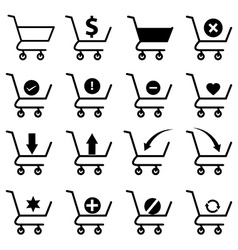 Shopping cart icons set vector image vector image