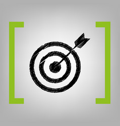 target with dart black scribble icon in vector image