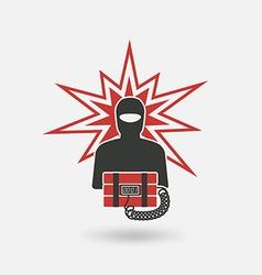 Terrorist with bomb vector