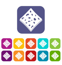 Tofu fresh block icons set flat vector