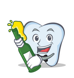 tooth character cartoon style with beer vector image vector image