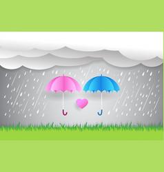 umbrella in rain paper art heart in the sky vector image vector image