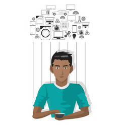 Young man smartphone internet of things vector