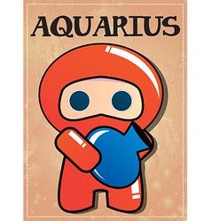 Zodiac sign Aquarius with cute black ninja vector image vector image