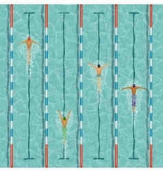 Swimmers in swimming pool vector