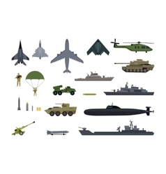 Military resources army icons set war ammunition vector