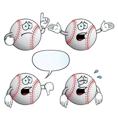 Crying baseball set vector