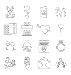 Saint Valentine icons set outline style vector image
