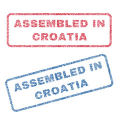 Assembled in croatia textile stamps vector