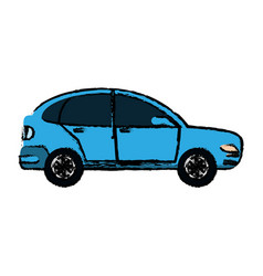 Drawing blue car coupe parking lot vector