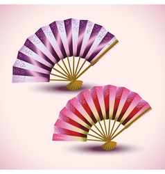 Set of colorful Japanese fans isolated vector image