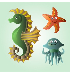 Set of funny sea animals vector