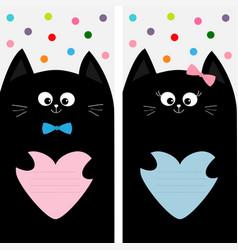 Black cat kitty family holding pink blue heart vector