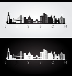 Lisbon skyline and landmarks silhouette vector