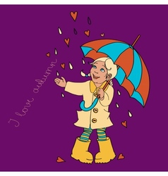 Cute little girl with umbrella background for your vector image