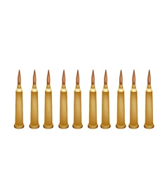 Set of rifle bullets on white background vector