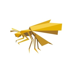 Flying bee insect in origami style vector