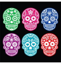 Mexican sugar skull icons set colour black bg vector