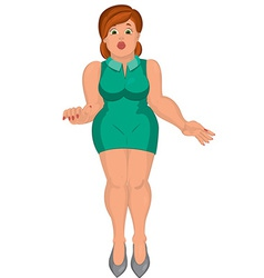 Cartoon young fat woman in green dress front view vector
