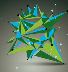 3d abstract technology colorful mesh shape green vector