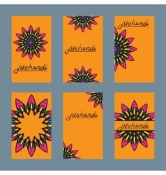 Six design of flayer for mehndi and card with vector