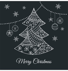 Hand drawn black christmas tree with doodles vector