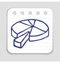Doodle pie chart icon vector