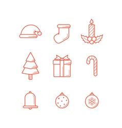 Christmas icons outline expand vector