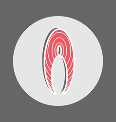 Red fish slice icon vector