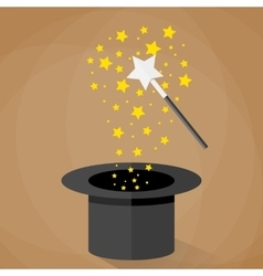 Magic hat and wand with sparkles stars vector