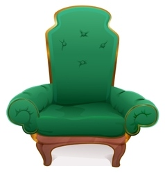 Green armchair cushioned furniture vector