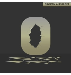 Letter o broken mirror vector