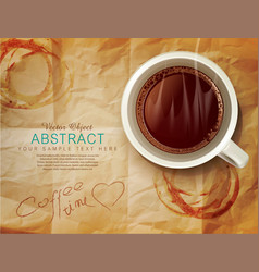 background with a cup of coffee vector image