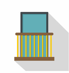 Balcony with yellow fencing icon flat style vector