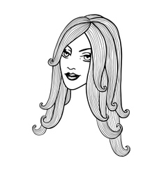 Beautiful girl Black and white outline vector image