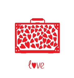 Big red suitcase with hearts Isolated vector image vector image