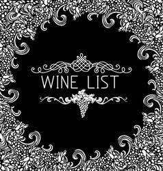 Black and white wine list design vector